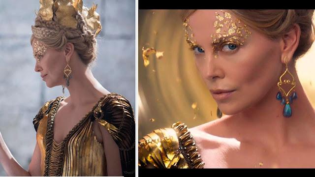 O caçador e a rainha do Gelo, coroas e jóias Ravenna (Sharlize Theron) figurino rainha má