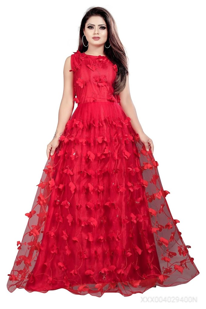 JULEE Women's Net Embroidery Semi-Stitched Gown (Titli Gown Red_Free Size)