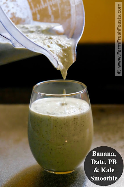 This power smoothie recipe is made from real ingredients--bananas, dates, and kale--and protein packed with peanut butter, milk and yogurt.