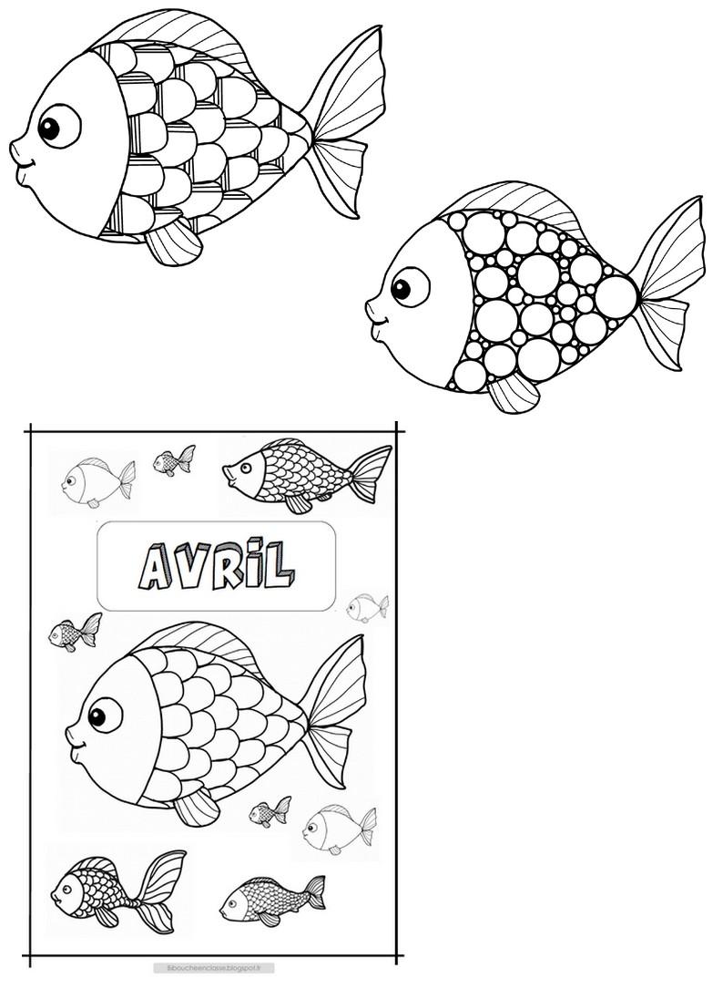 Bibouche En Classe Avril Coloriage Calendrier Et Poissons