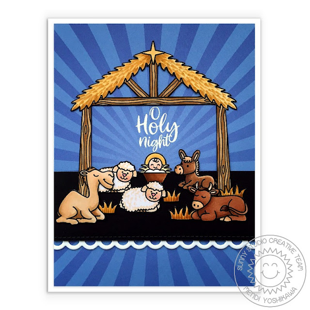 Sunny Studio Blog: Baby Jesus in the Stable with Animals Sunburst Nativity Scene Handmade Holiday Christmas Card (using Holy Night Stamps, Slimline Basic Border Dies & Classic Sunburst Paper Pack)