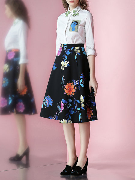 JUNGLE ME Black Floral Polyester Sweet Printed Midi Skirt– Price: $65.00