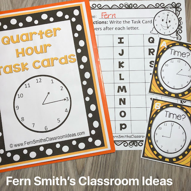 Click Here for the Time Task Cards - Teaching Time To the Quarter Hour Task Card Resource #FernSmithsClassroomIdeas