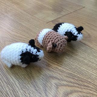 Three crochet guinea pigs