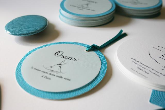 faire part rond garçon turquoise papier chiyogami fait main sur mesure atelier fleur de pommier birth announcement