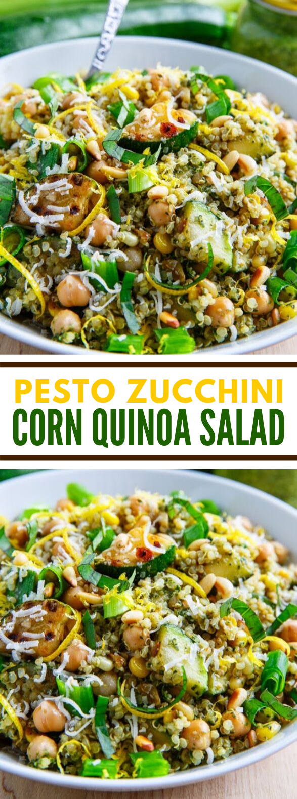 Pesto Zucchini and Corn Quinoa Salad #vegetarian #easysalad