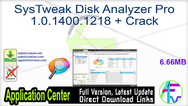 SysTweak Disk Analyzer Pro 1.0.1400.1218 + Crack