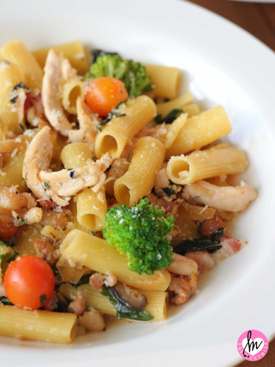 Al dente rigatoni pasta, Italian sausage, chicken, pancetta, cannelini beans, vegetables, and parmesan butter
