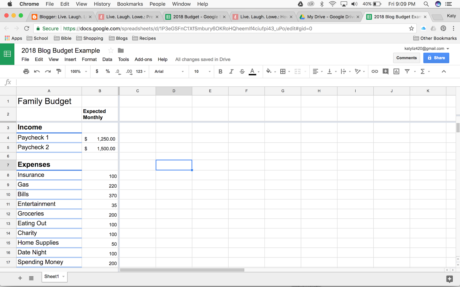 how to create a budget in google sheets