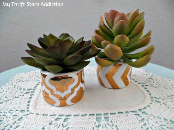 Napkin ring mini succulent pots