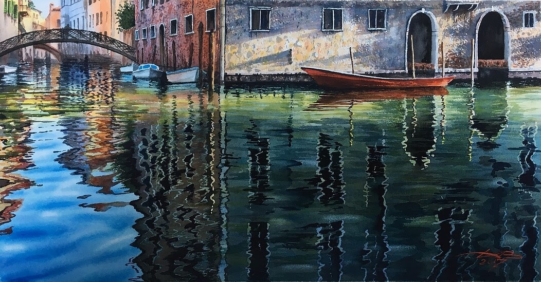 14-Morning-in-Venice-Igor-Dubovoy-A-Love-for-Travelling-and-Realistic-Watercolour-Paintings-www-designstack-co