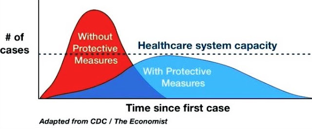 case of,without protectivemeasures,healthcare system capacity,with protective measures,time since first case