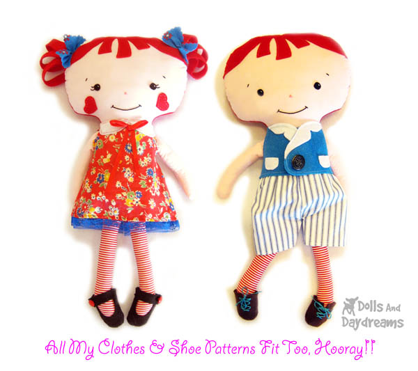 Dolls And Daydreams - Doll And Softie PDF Sewing Patterns: Raggedy ...