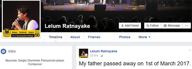 Victor Ratnayake's son says his father is dead