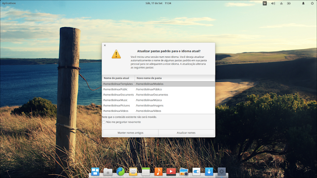 Atualização das pastas do elementary OS