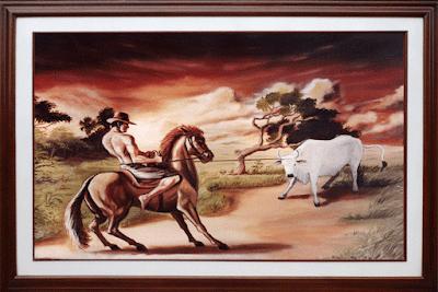 Oleos,paisaje, ganado