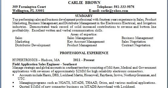 Field Application Sales Engineer Sample Resume Format In