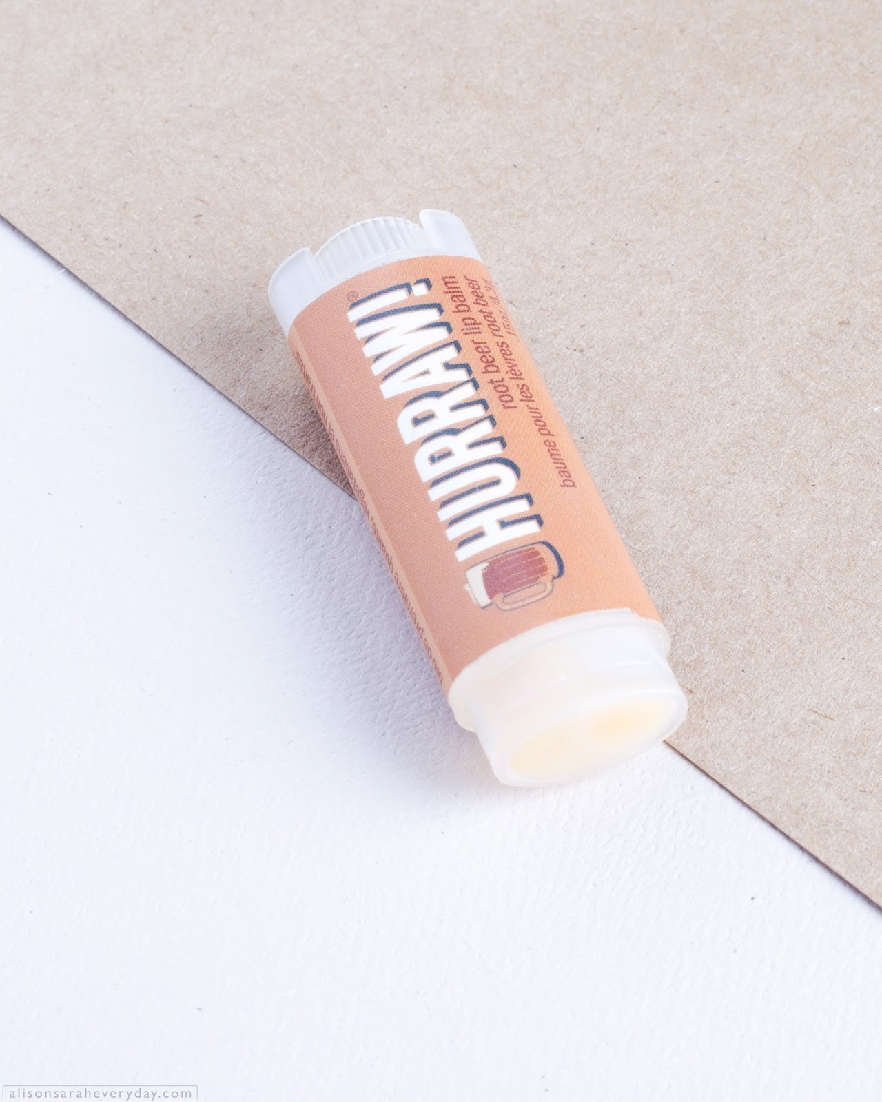 Hurraw! an all-natural, vegan, Lip Balm in the flavour Root Beer