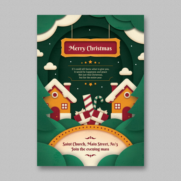 Merry Christmas Paper Art Flyer Template Free Psd files
