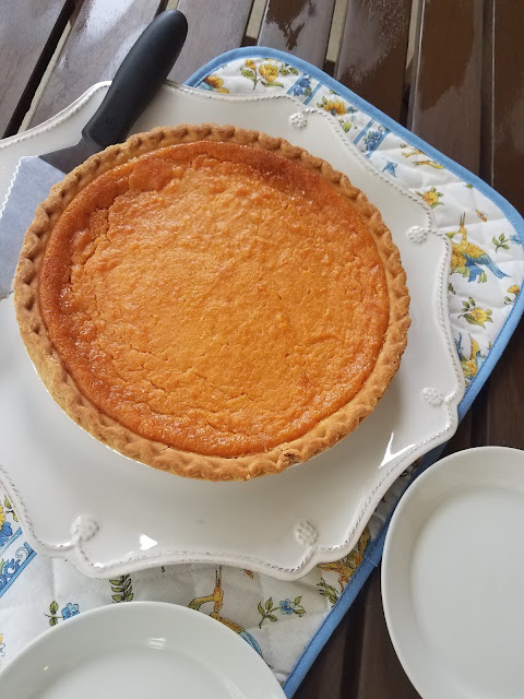 Sweet Potato Cheesecake Pie is a hybrid between a sweet potato pie and a cheesecake.