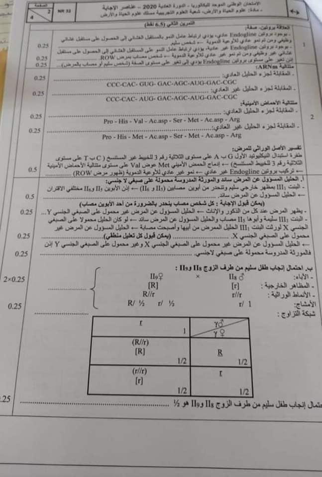 الامتحان الوطني الدورة العادية 2020