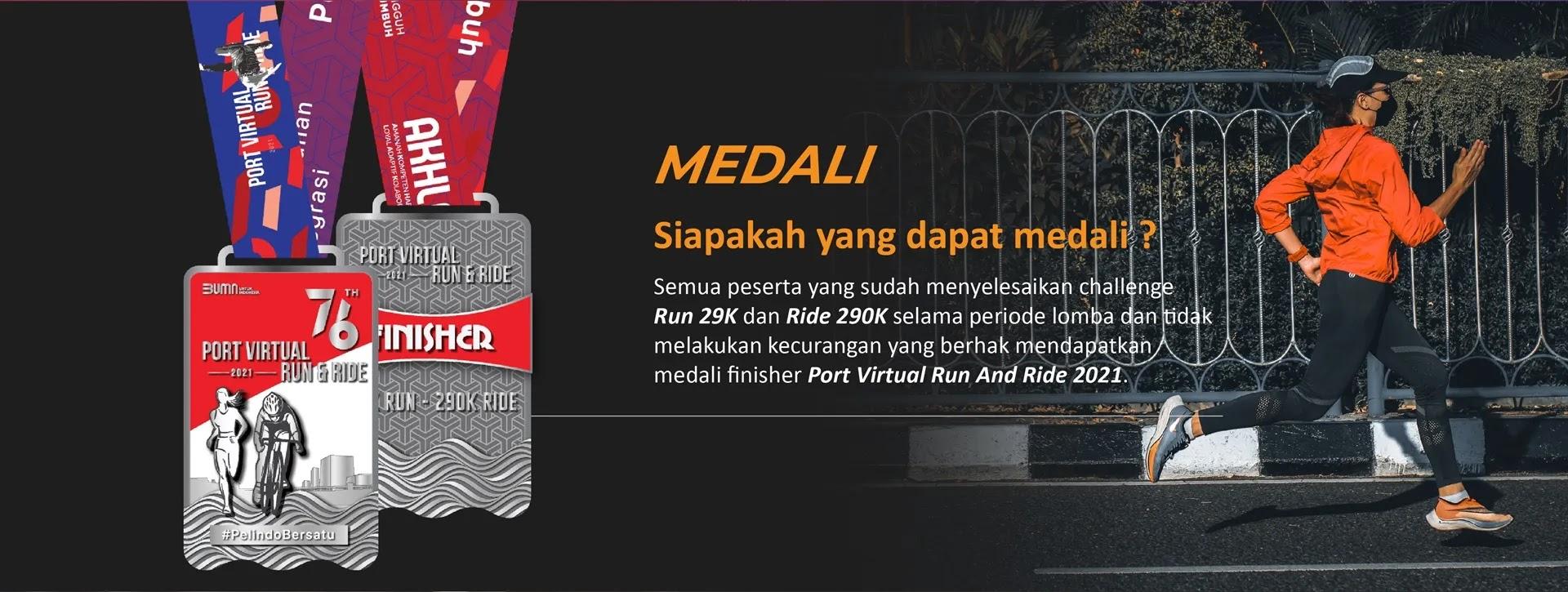 Medali � Port Virtual Run and Ride • 2021