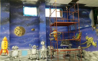 Malowanie sali zabaw, mural 3D, artystyczne malowanie ścian 3D, malowidła ścienne