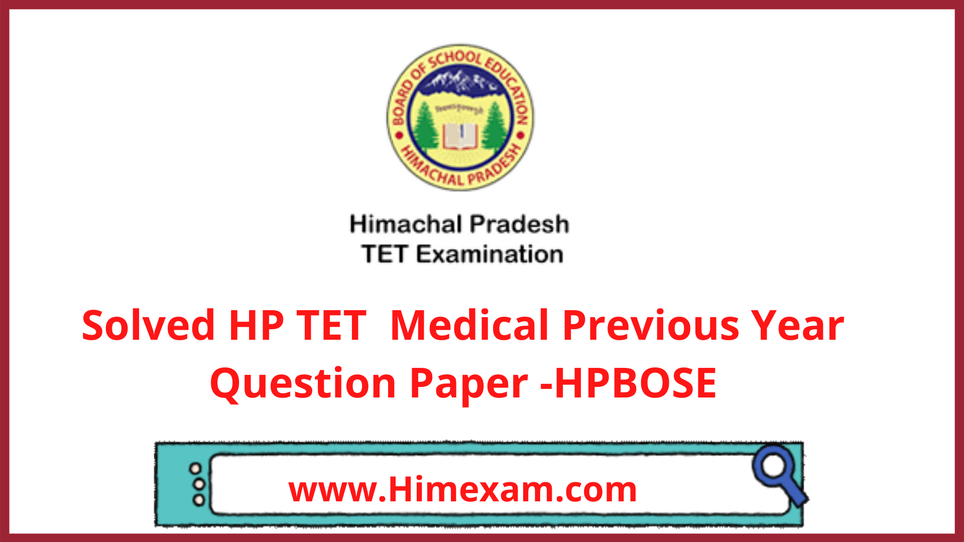 Solved HP TET  Medical Previous Year Question Paper -HPBOSE