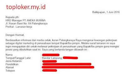 Contoh Surat Lamaran Kerja Bahasa Indonesia Dan Inggris Yang Baik