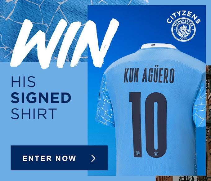 اربح قميص Aguero مع التوقيع مجانا مع مسابقات مان سيتي