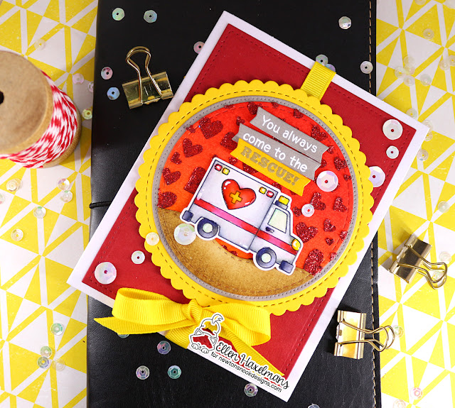Ambulance Valentine card by Ellen Haxelmans | Love Emergency Stamp Set, Tumbling Hearts Stencil, and Circle Frames Die Set by Newton's Nook Designs