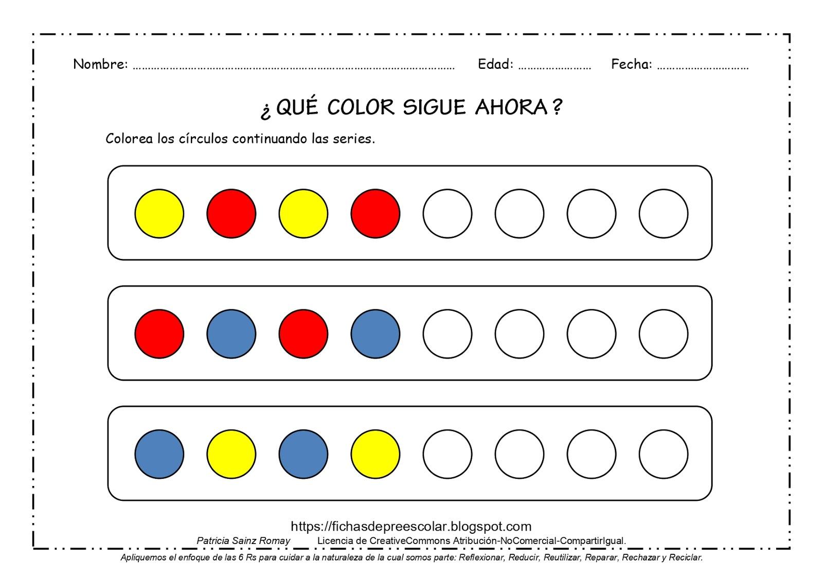 Fichas De Educacion Preescolar Que Color Sigue Ahora Series Con