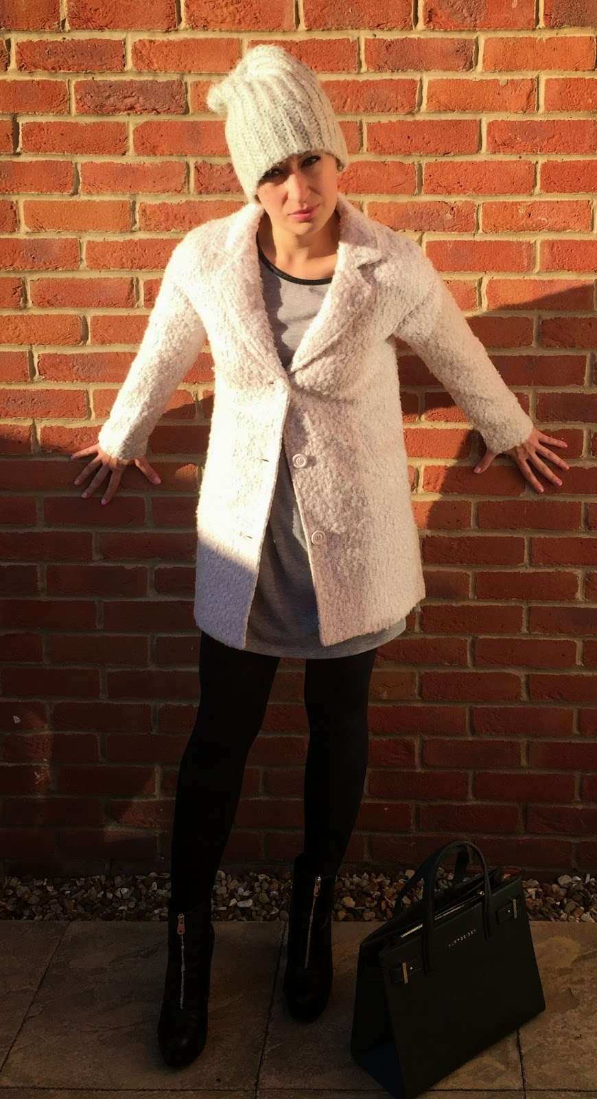 H&M Pale Pink Boucle coat with blacks and greys
