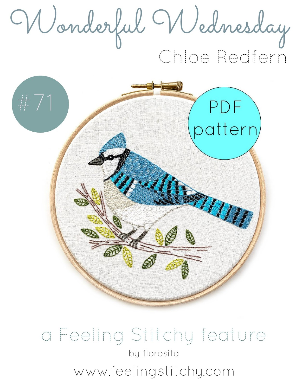 Wonderful Wednesday 71 - Blue Jay pattern by Chloe Redfern as featured by floresita on Feeling Stitchy