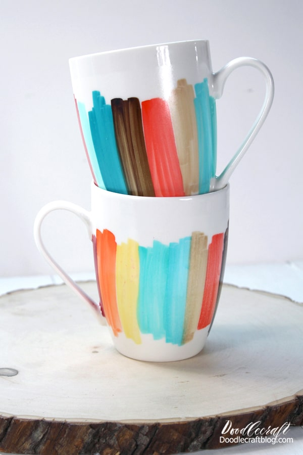 These darling color blocked mugs are easy to make and would make a wonderful handmade gift. A single mug with a packet of hot chocolate mix and a candy cane is a great gift for a teacher, neighbor or friend.