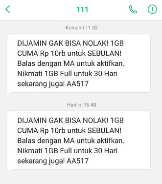 paket tri 1gb 10000 lewat sms
