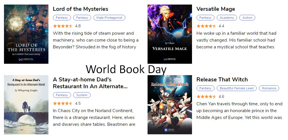 World Book Day 2020 - 5 best webnovels to read