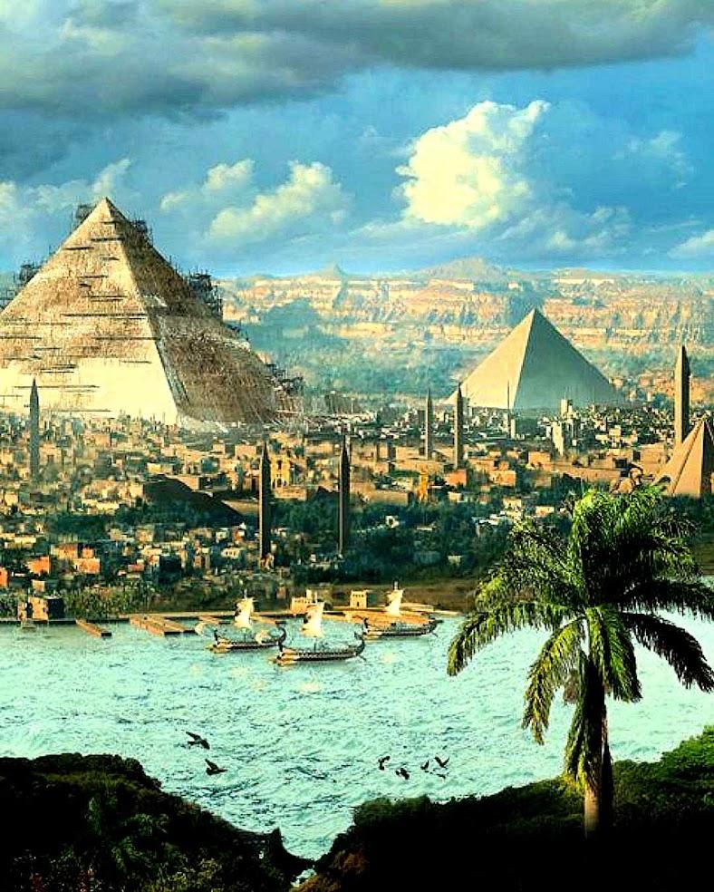 Concepção artística de como poderia ter sido a construção das pirâmides