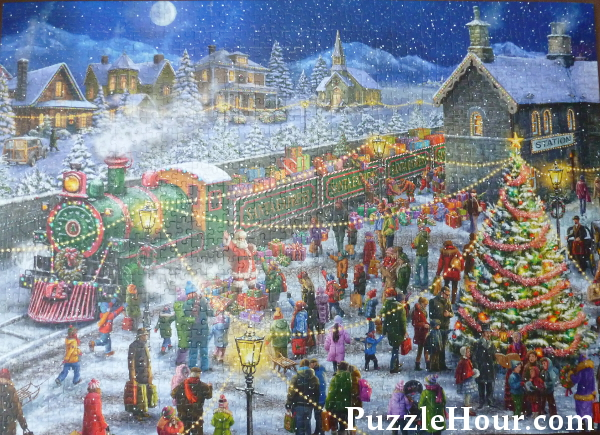 Santas special delivery jigsaw puzzle santa express train elves gifts presents Christmas tree carol singers
