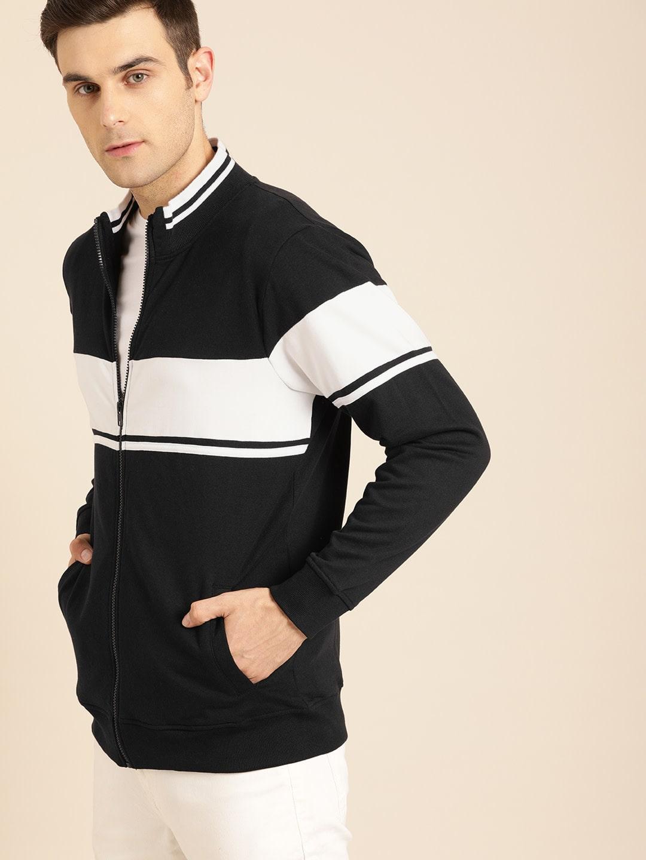 Ether Black & White Colourblocked Sweatshirt