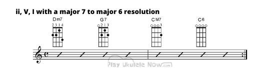 Major 7 to Major 6 resolution