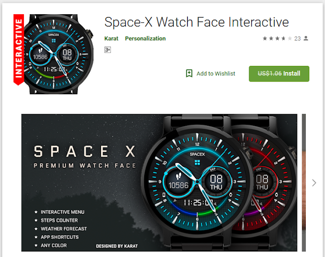 Space-X Watch Face Interactive[Normally $1.06]