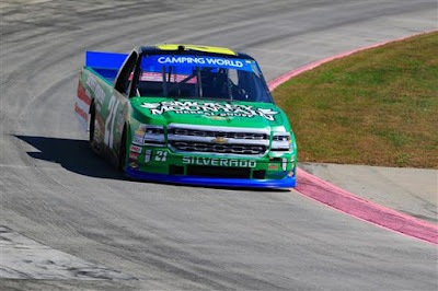 Johnny Sauter, driver of the #21 Smokey Mountain Herbal  Snuff Chevrolet, practices for the NASCAR Camping World Truck Series