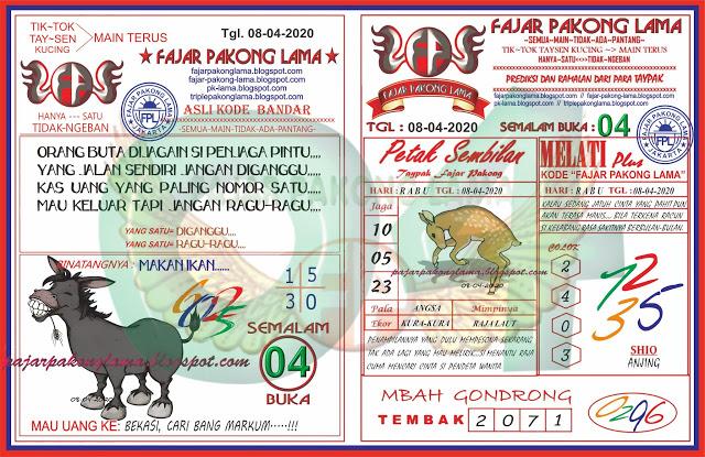 Prediksi HK Rabu 08 April 2020 - Fajar Pakong Lama