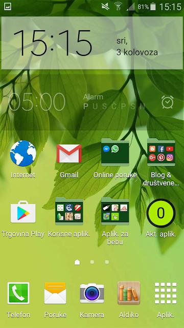 Android aplikacije na mobitelu - glavni zaslon