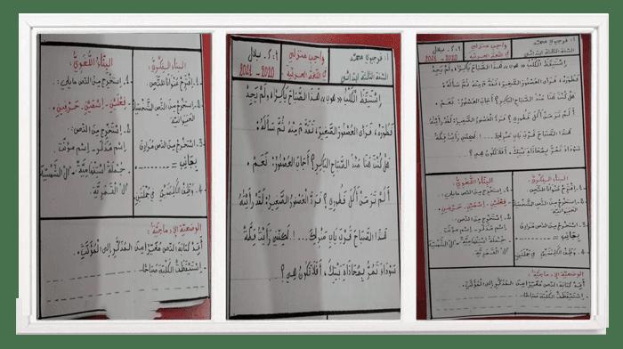 واجب منزلي في اللغة العربية للسنة الرابعة ابتدائي