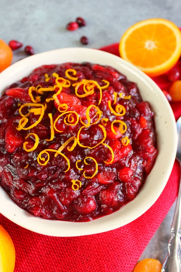 Homemade Cranberry Sauce with Apricots and Orange