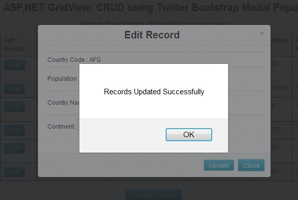 ASP NET: GridView CRUD using Twitter Bootstrap Modal Popup