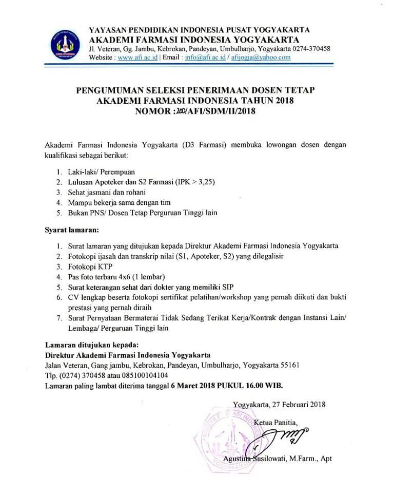 Lowongan Dosen Akademi Farmasi Indonesia (AFI) Yogyakarta Farmasi