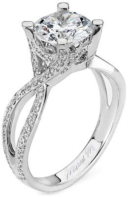 Twist Shank Diamond Engagement Ring by Michael M.